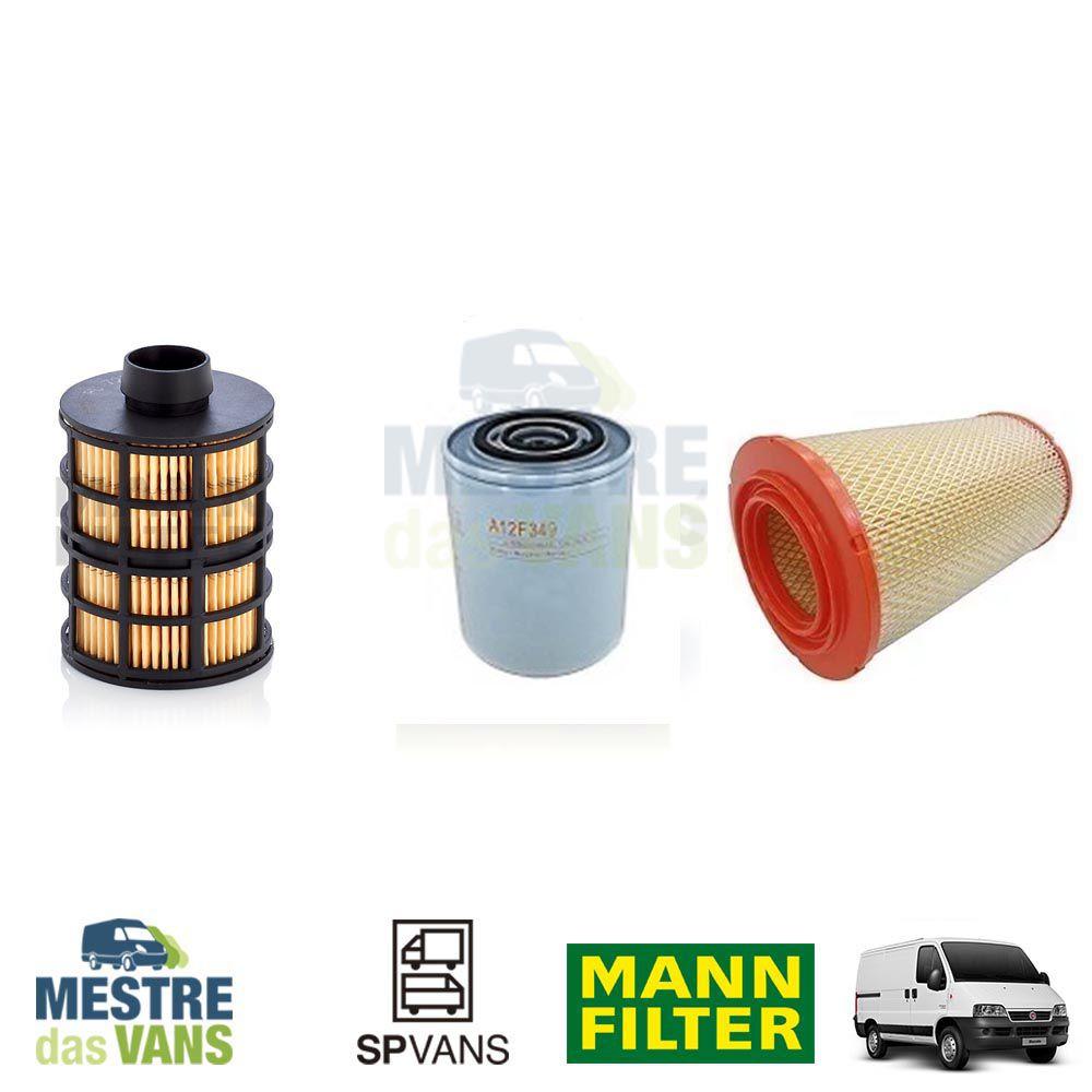 Kit filtros Ar + Óleo + Combustível Ducato / Boxer / Jumper 2.8 Eletrônica MANN/Kopla