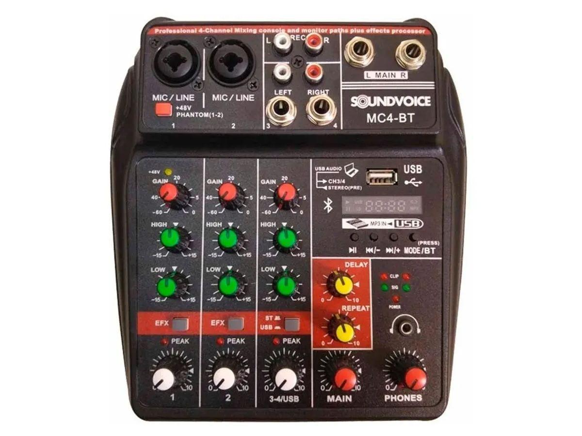 Mesa de Som Compacta Soundvoice MC4-BT 4 Canais