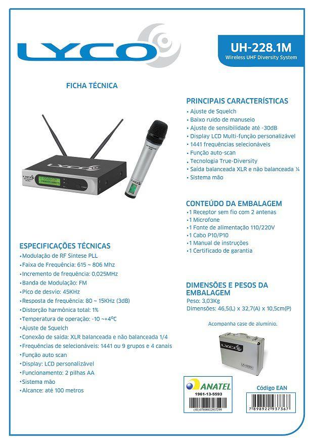 Sistema de Microfone sem fio Lyco UH228.1M