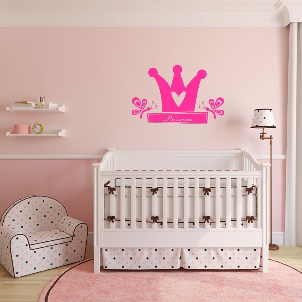 Adesivo de Parede Infantil Coroa com Nome Personalizado