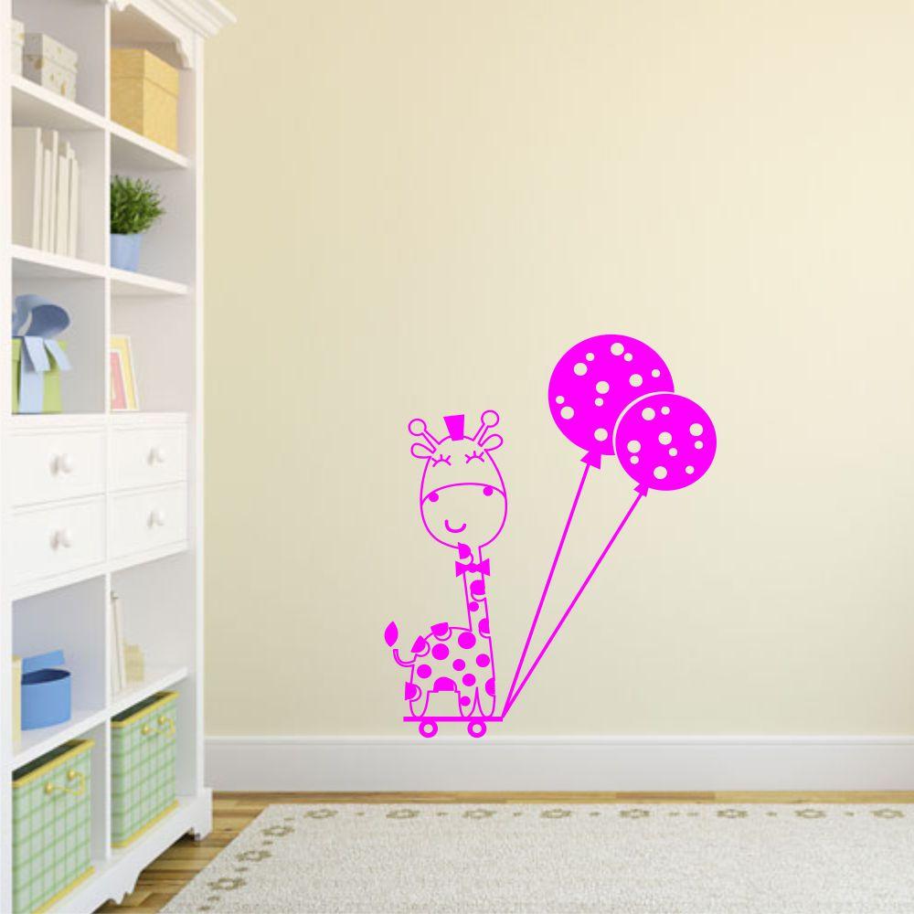 Adesivo de Parede Infantil Girafa / Girafinha com Balão