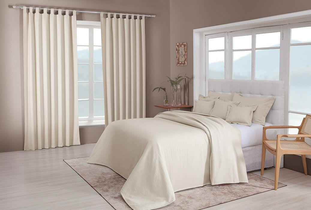 Colcha cobre leito de casal cru lisa com porta travesseiros