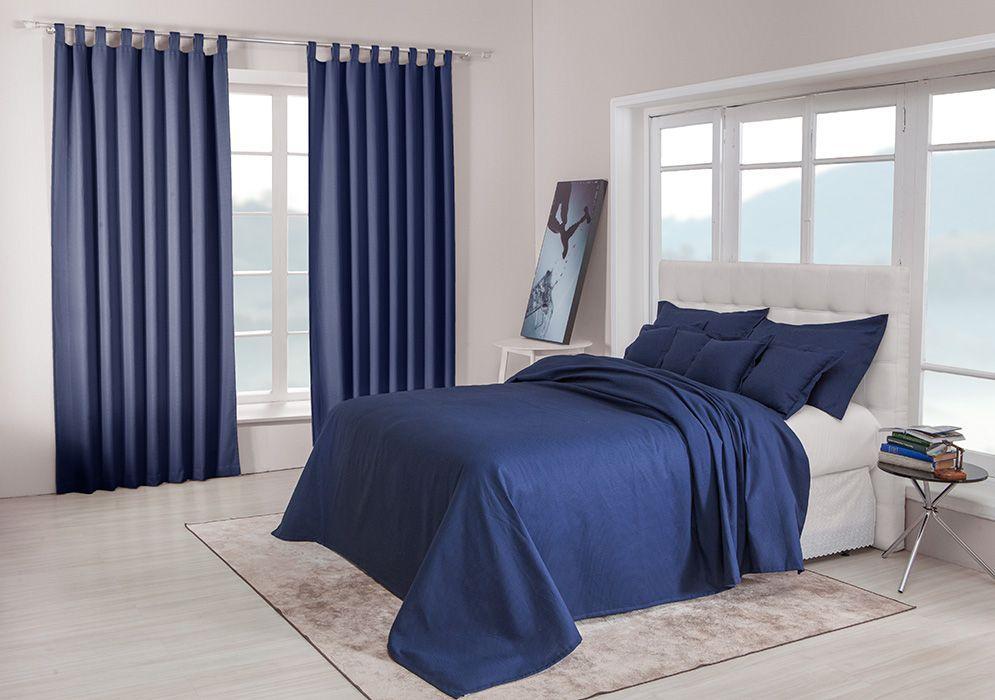 Colcha cobre leito de casal marinho lisa com porta travesseiros