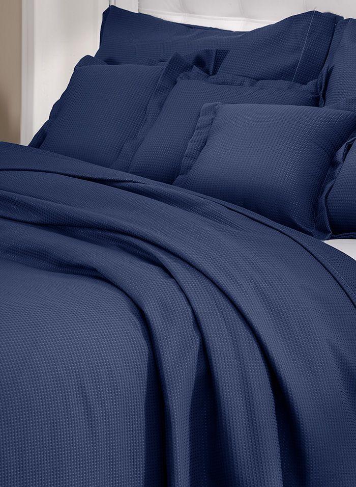 Colcha cobre leito de solteiro marinho lisa com porta travesseiros