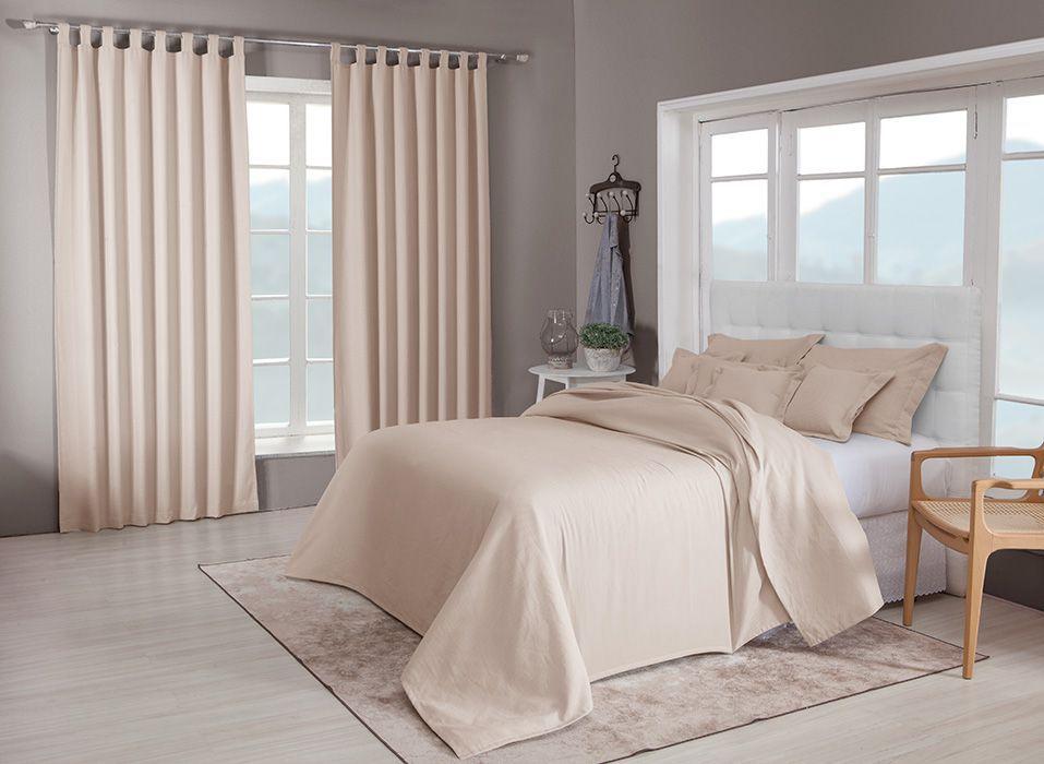Colcha cobre leito Queen castor lisa com porta travesseiros