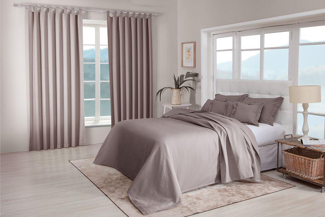 Colcha cobre leito Queen fendi lisa com porta travesseiros
