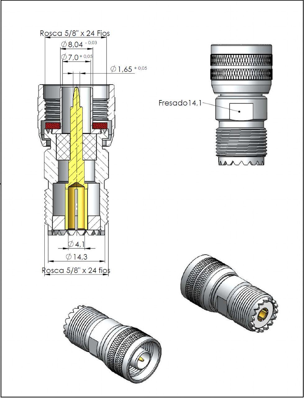 Adaptador de Conversão Reto N 50 Ohms Macho x UHF Fêmea KLC-5