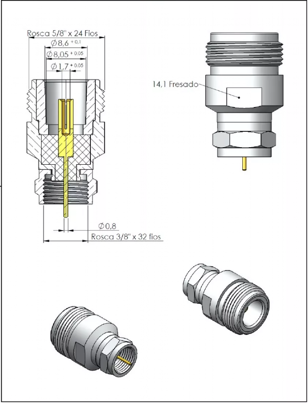 Adaptador de Conversão Reto N Fêmea X F Macho KLC-45