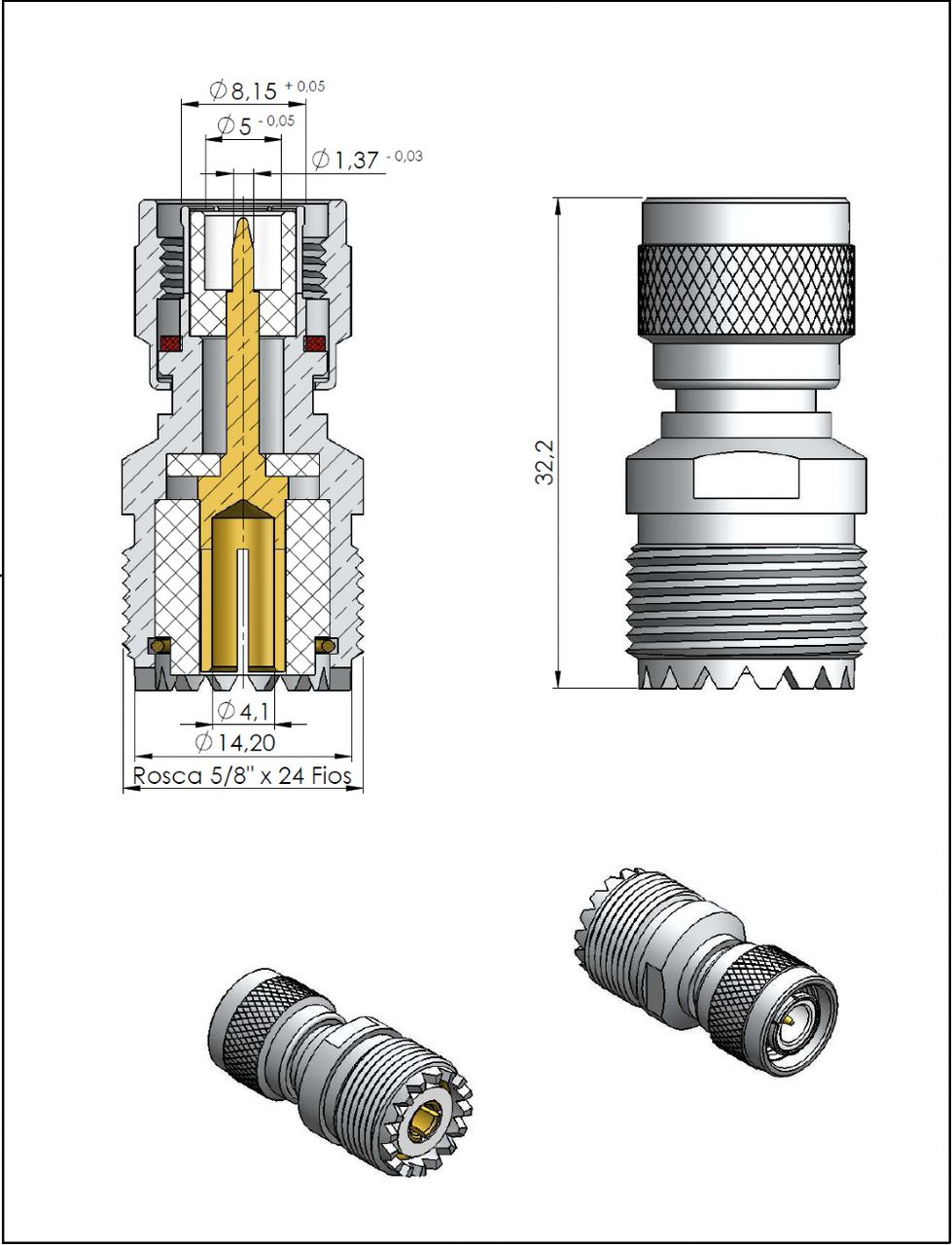 Adaptador de Conversão Reto TNC Macho x UHF Fêmea KLC-11