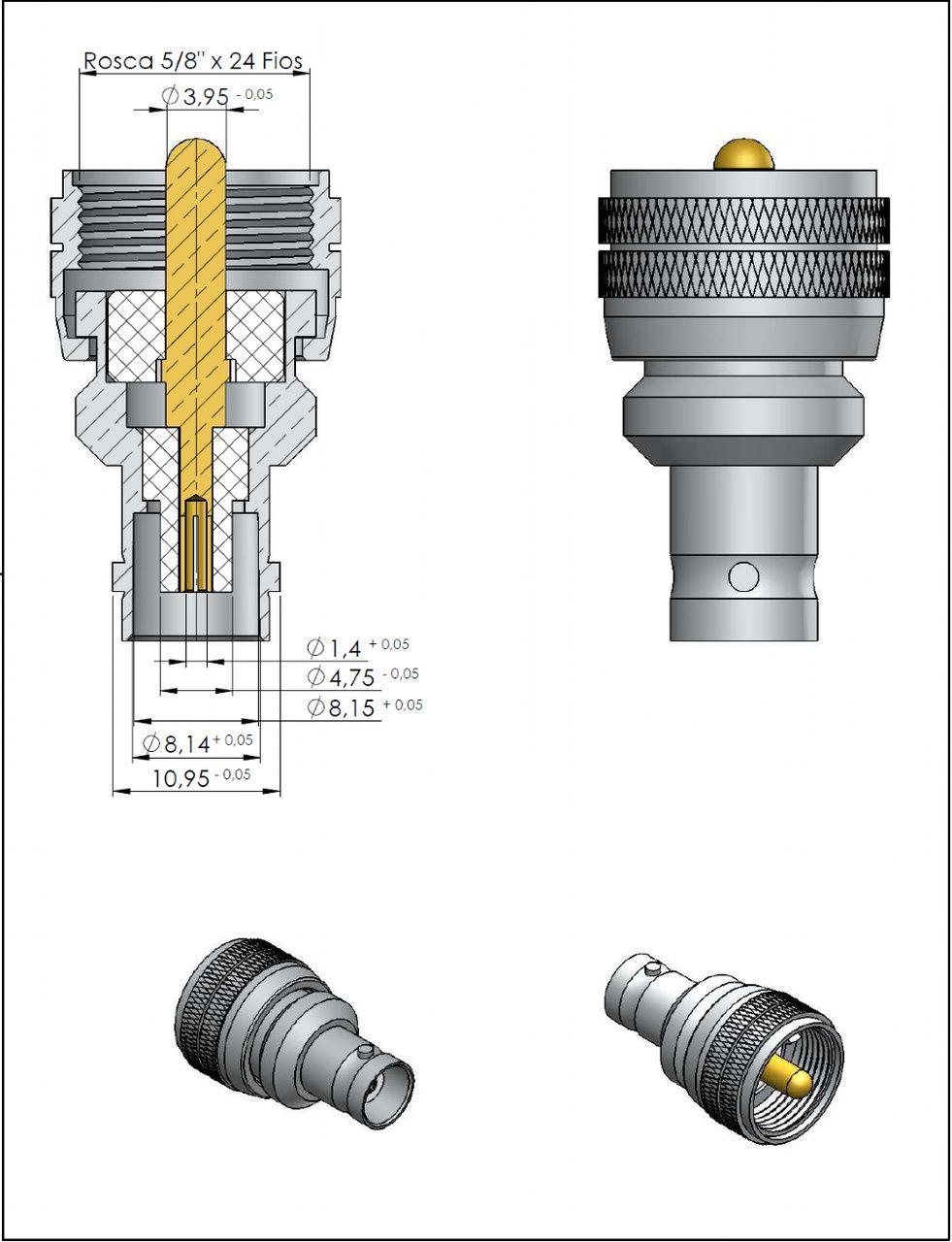 Adaptador de Conversão Reto UHF Macho x BNC 50 Ohms Fêmea KLC-4