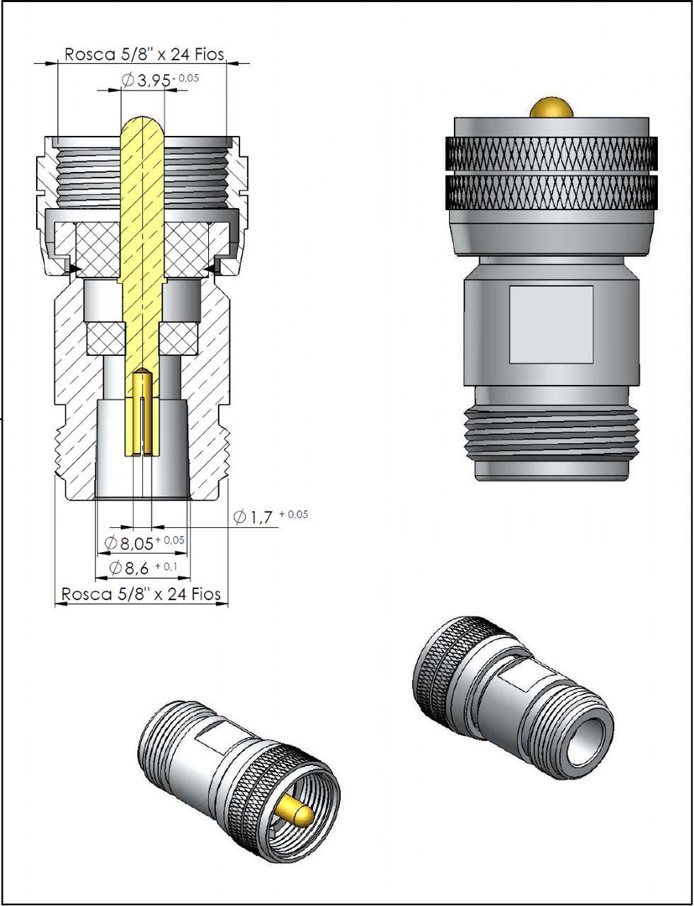 Adaptador de Conversão Reto UHF Macho x N 50 Ohms Fêmea Klc-6