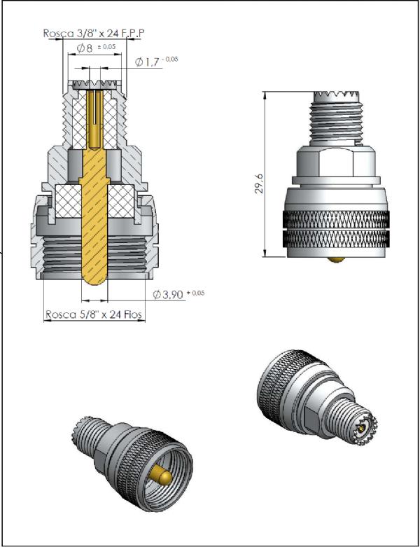 Adaptador de Conversão Reto UHF Macho x UHF-MINI Fêmea KLC-22