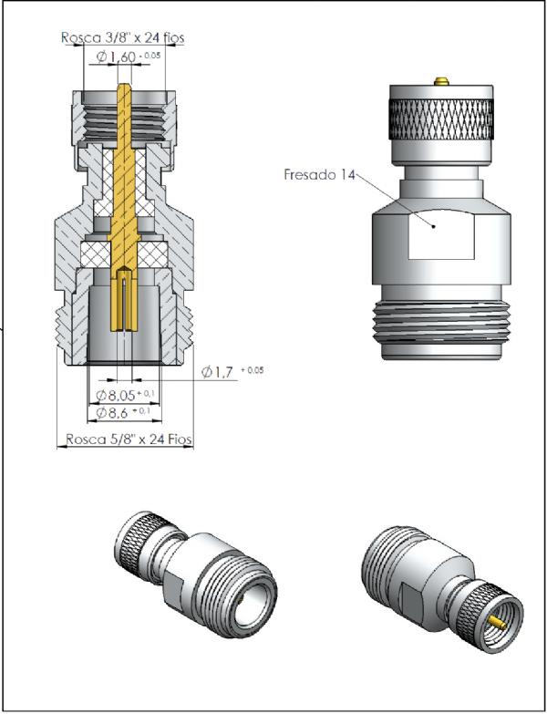 Adaptador de Conversão Reto UHF-MINI Macho x N 50 Ohms Fêmea KLC-21