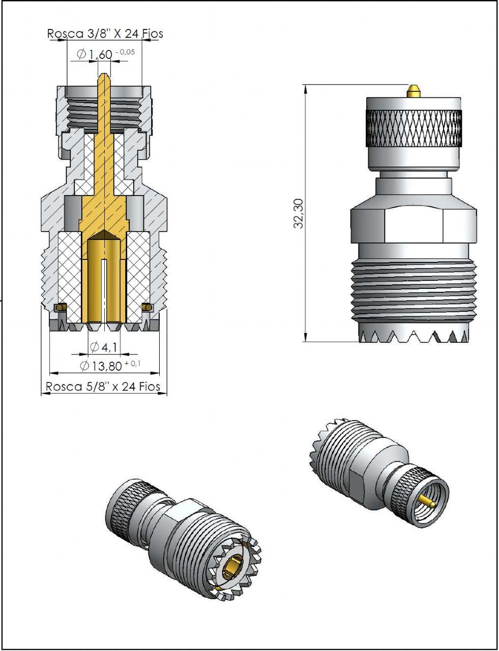 Adaptador de Conversão Reto UHF-Mini Macho x UHF Fêmea KLC-20