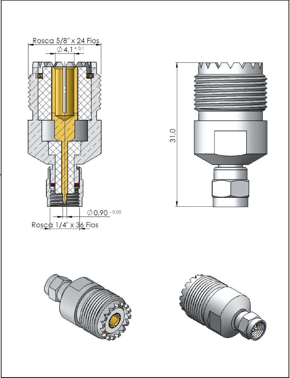 Adaptador de Conversão SMA Macho x UHF Fêmea KLC-54