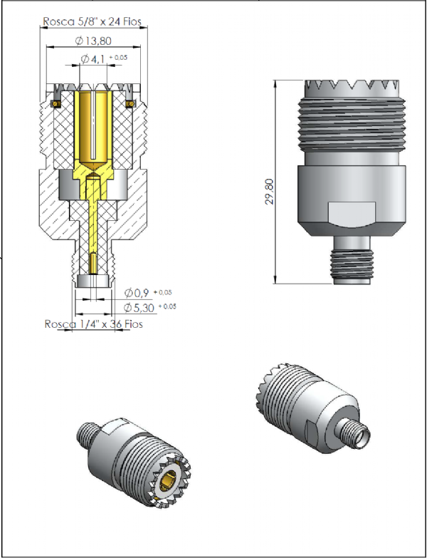 Adaptador de Conversão UHF Fêmea x SMA Fêmea KLC-60