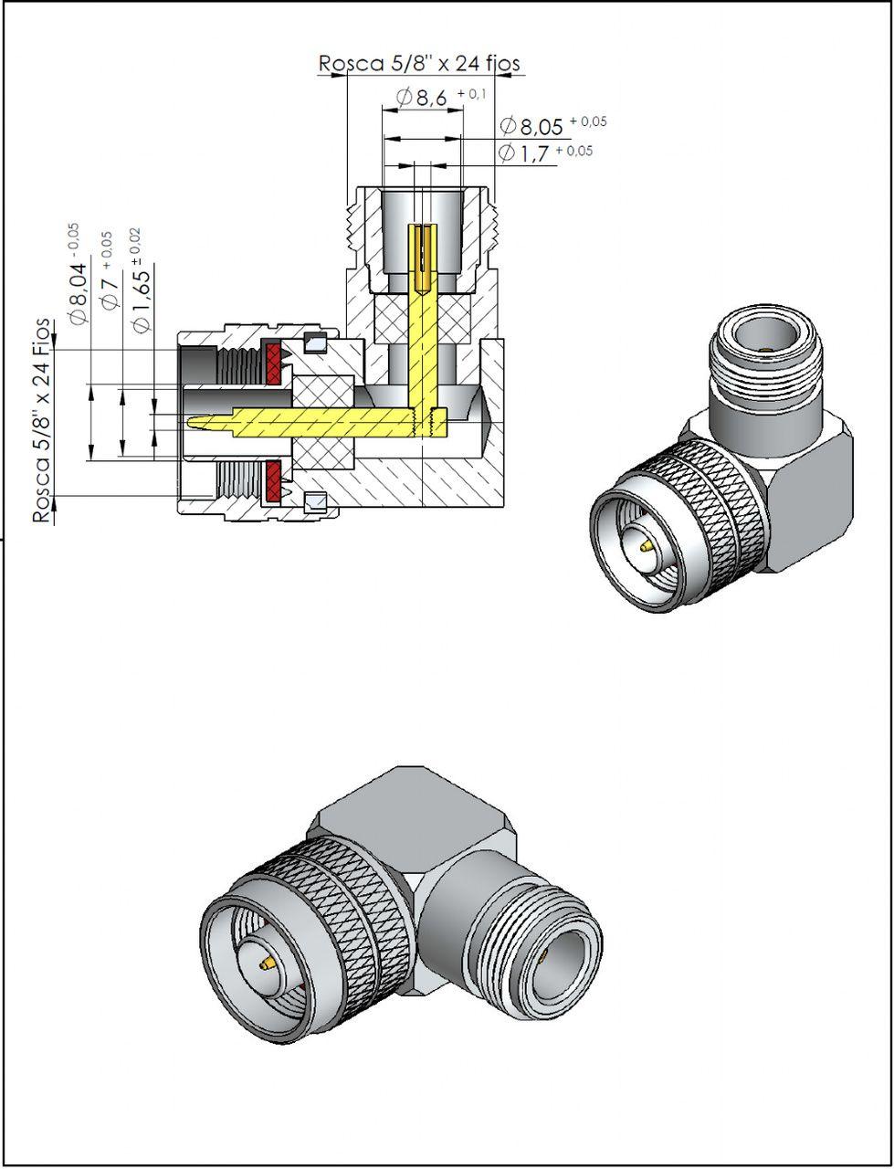 Adaptador de Série Angular N 50Ohms Macho x N 50Ohms CA-6