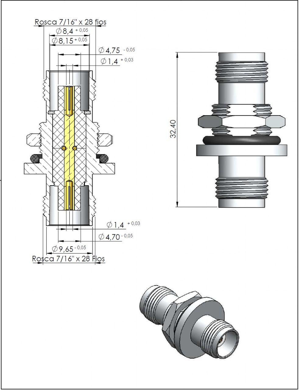 Adaptador de Série Reto TNC Fêmea x TNC Fêmea Fixação Painel TA-3