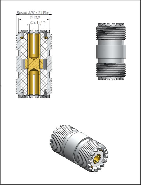 Adaptador de Série Reto UHF Fêmea x UHF Fêmea KA-1