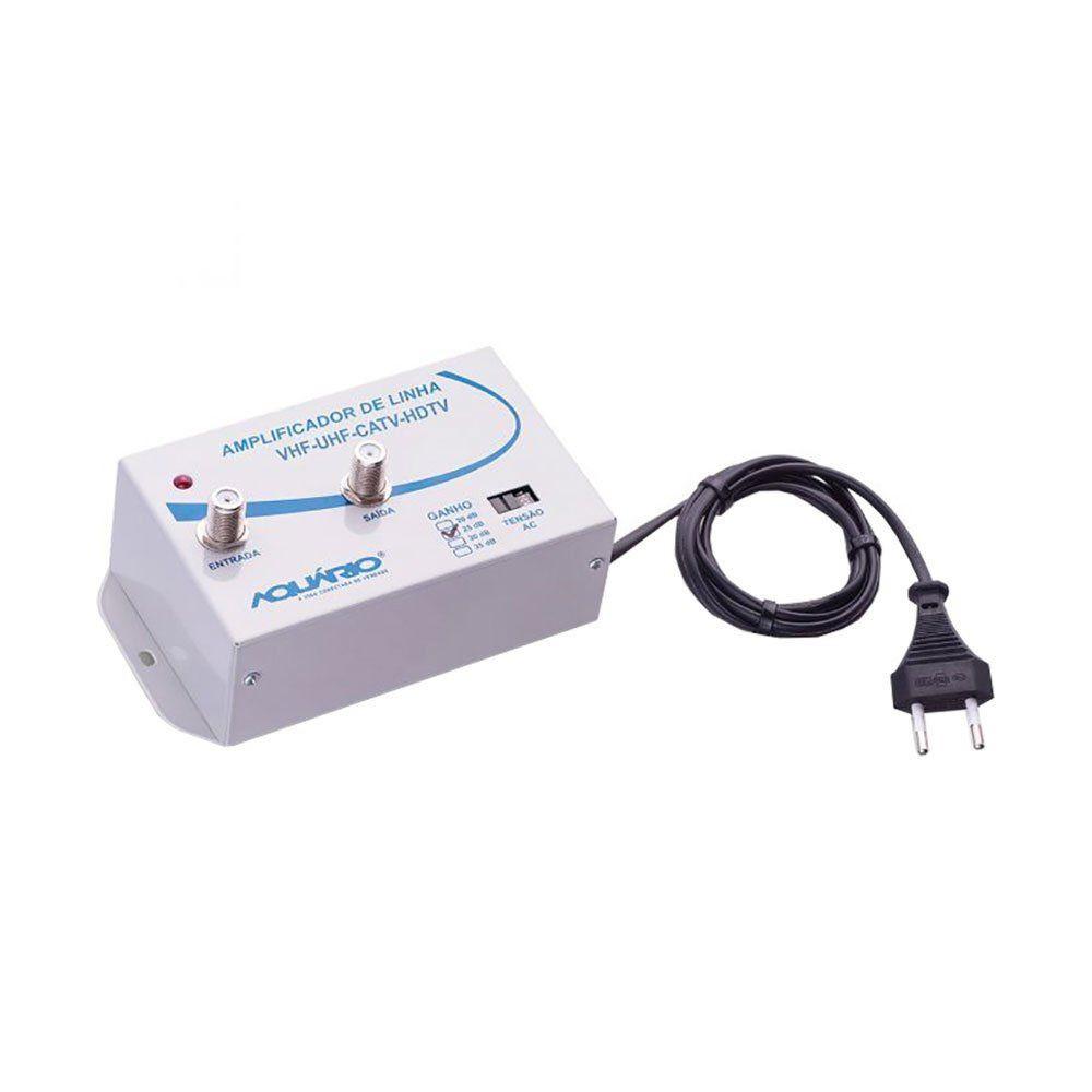 Amplificador de Linha de TV 25dB de Ganho AL-25 - Aquário