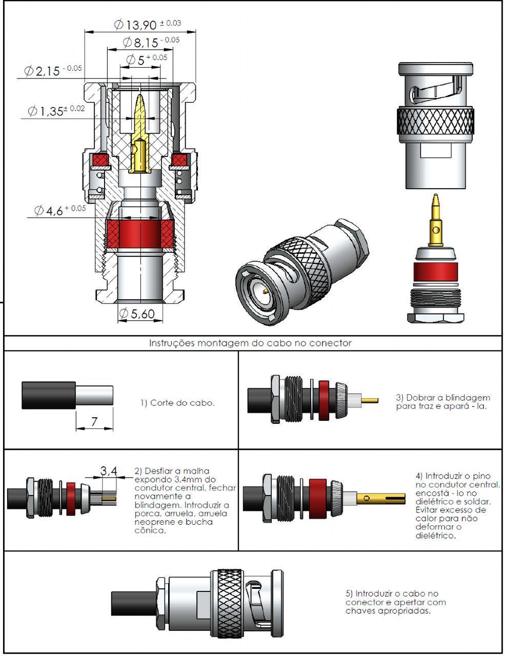 Conector BNC 50 Ohms Macho Rg/Rgc-58 LM-1