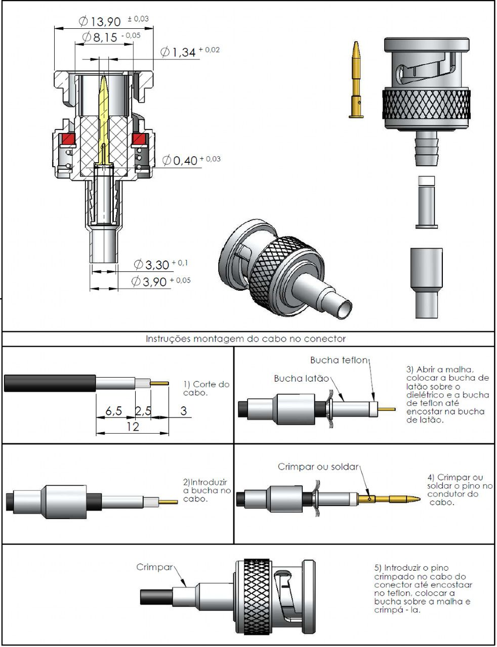 Conector BNC 75 Ohms Macho 0.3/1.8 LM-94
