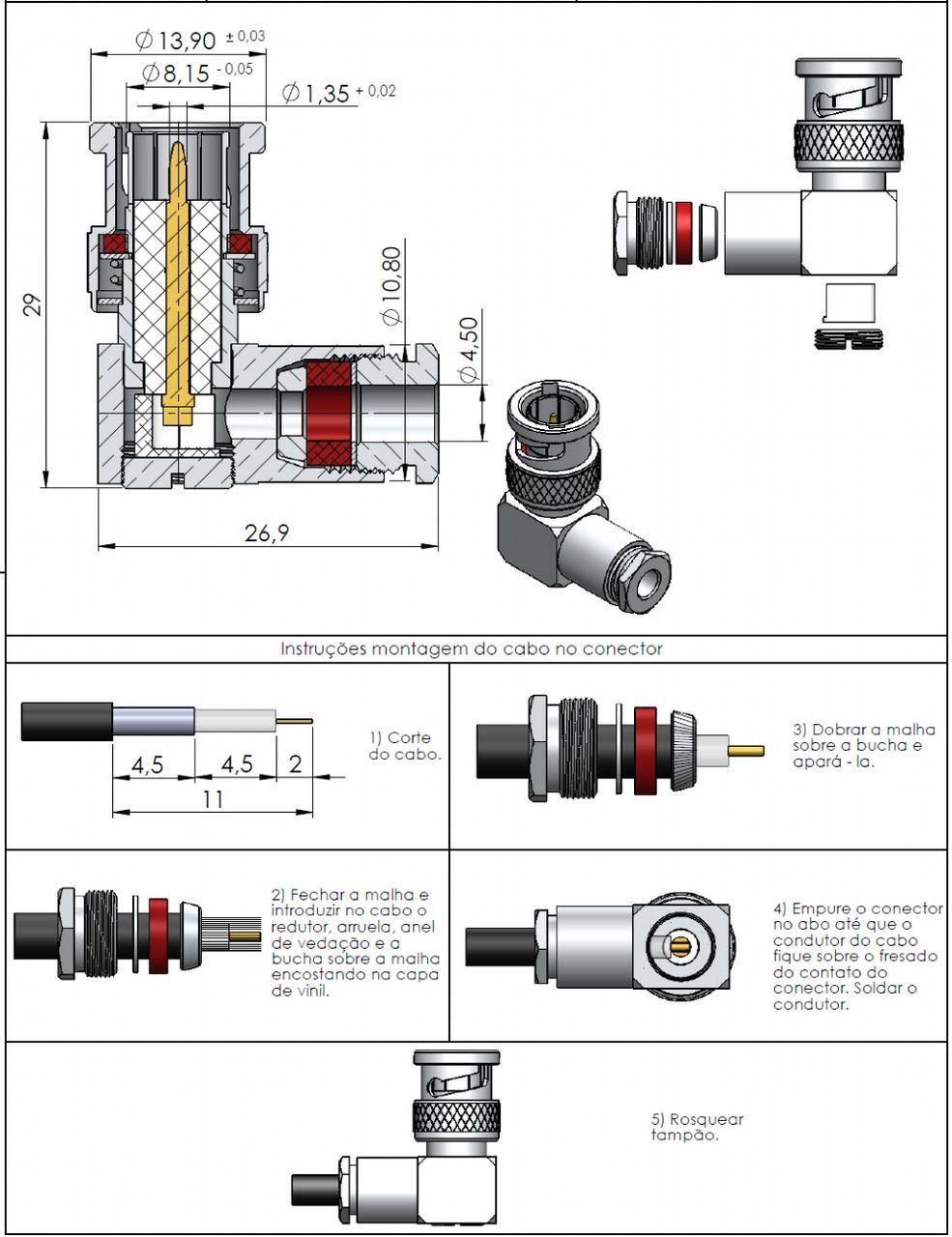 Conector BNC 75 Ohms Macho 0.4/2.5 LM-111
