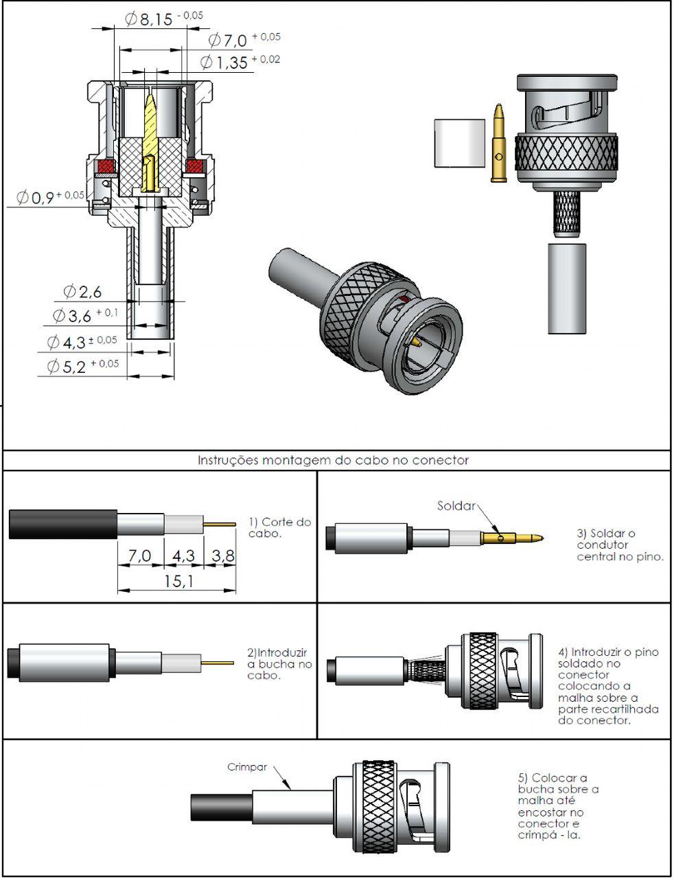 Conector BNC 75 Ohms Macho 0.4/2.5 LM-74