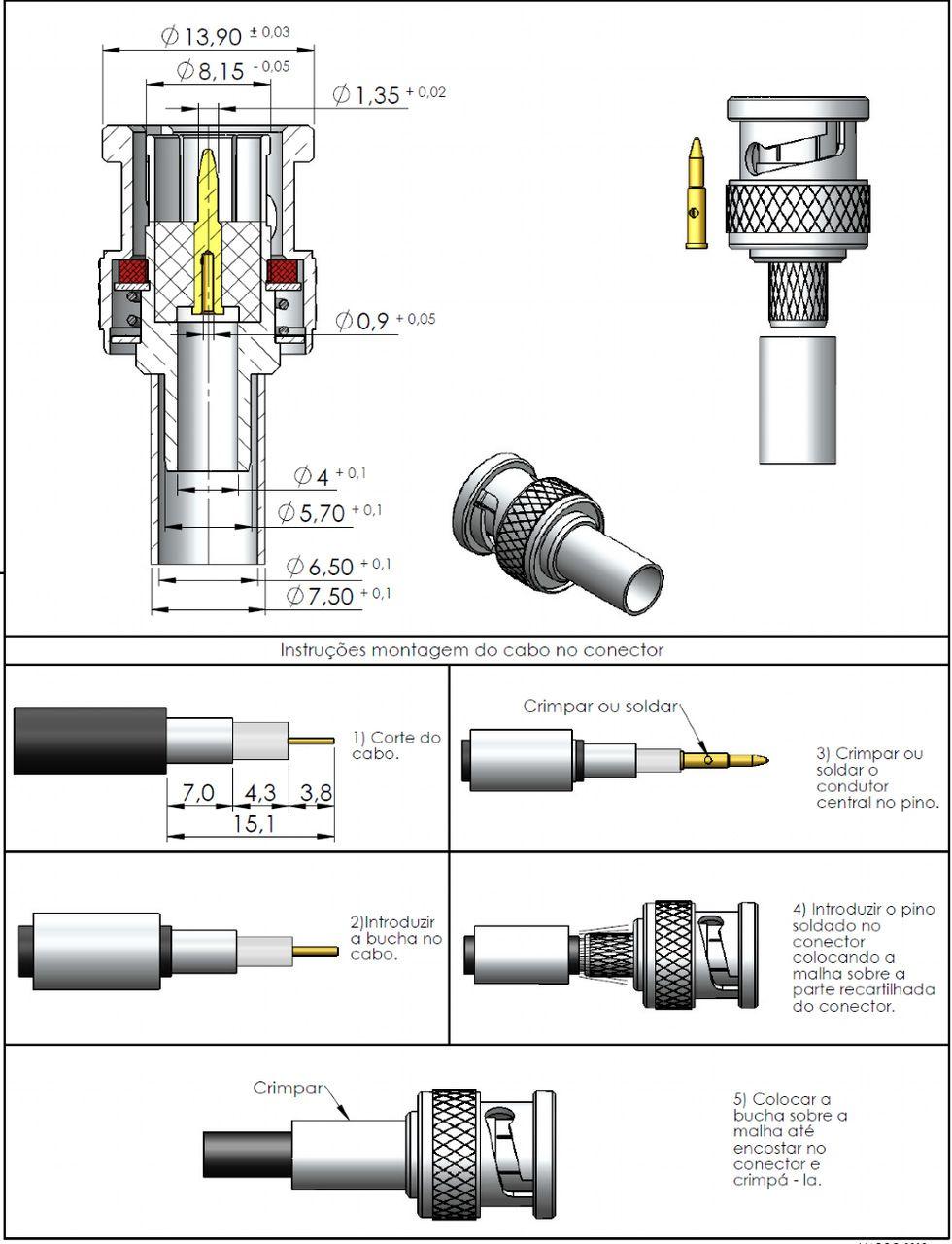 Conector BNC 75 Ohms Macho Rg/Rgc-59 LM-89