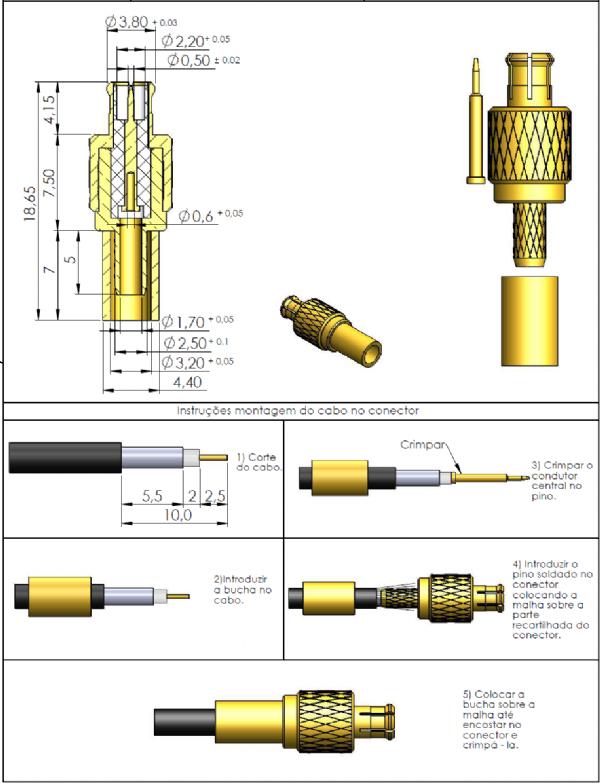 Conector MCX Macho Reto Cabo Crimpagem Rg-174 14004