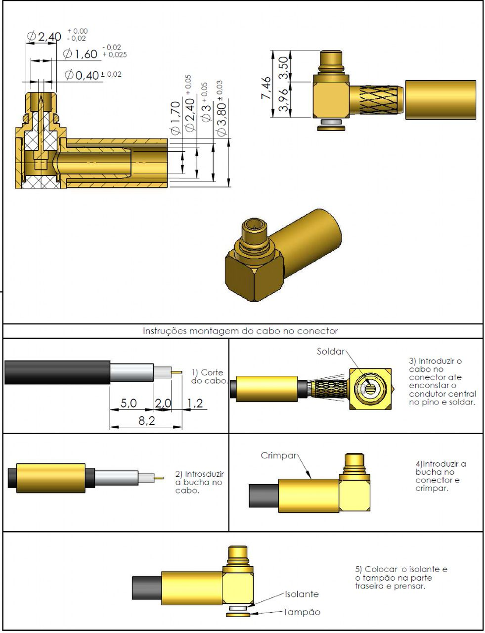 Conector MMCX Macho Rg-174 11008