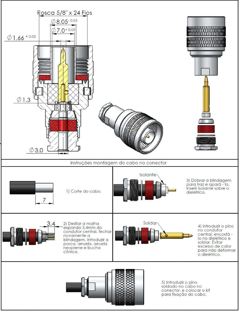 Conector N 50 Ohms Macho Rg-174 CM-95