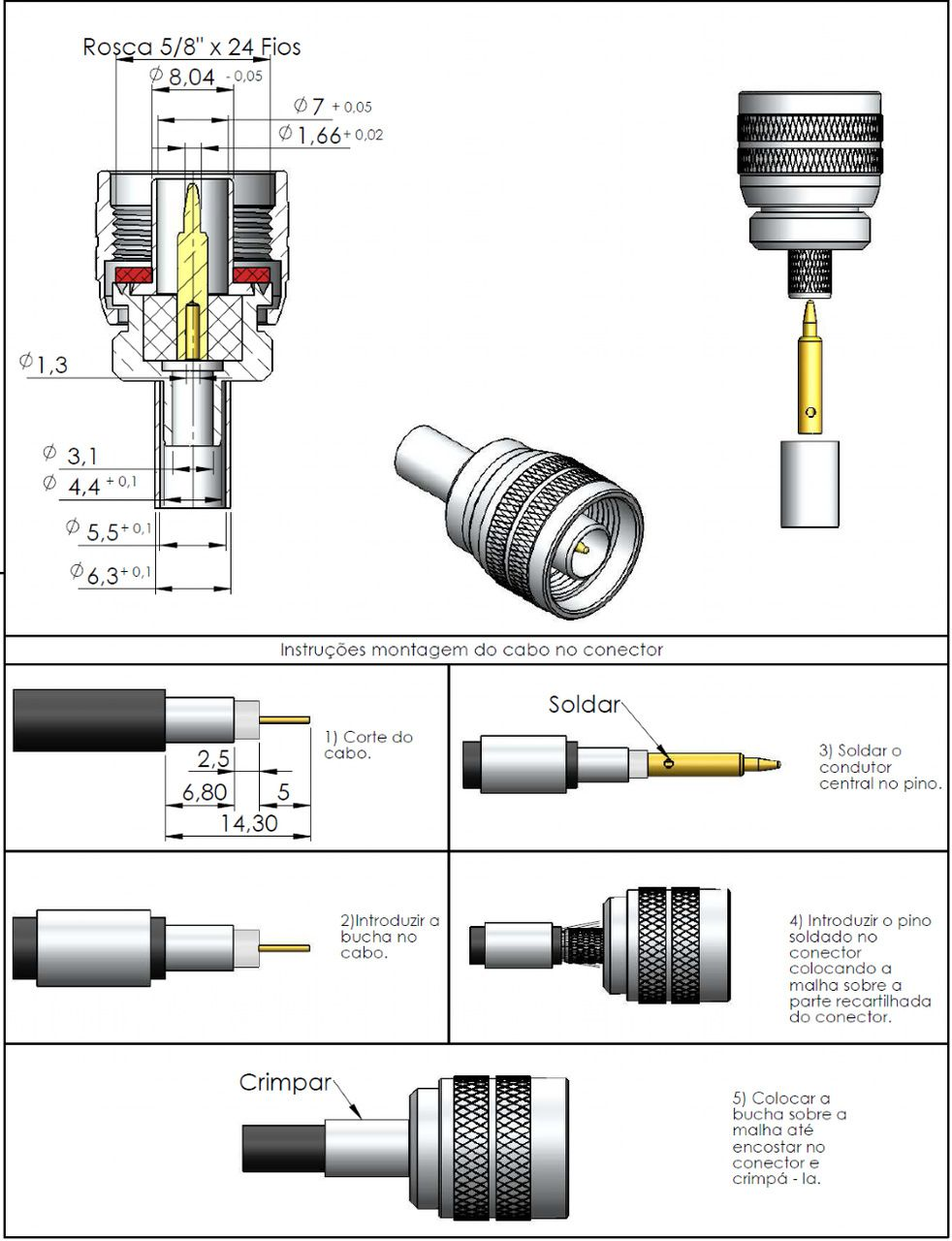 Conector N 50 Ohms Macho Rg/Rgc-58 CM-4CR
