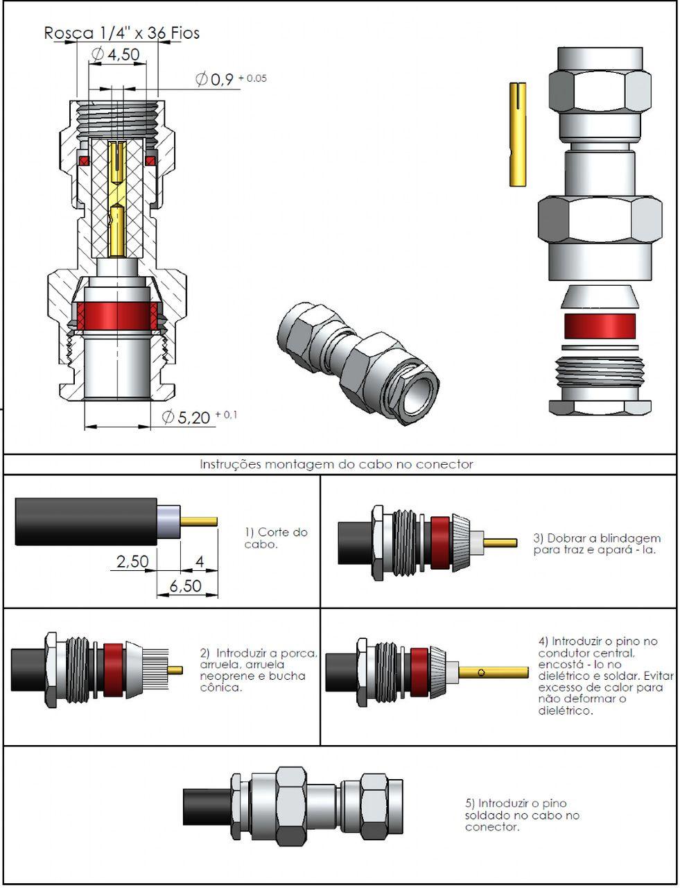 Conector SMA Macho Reverso Rg/Rgc-58 3040