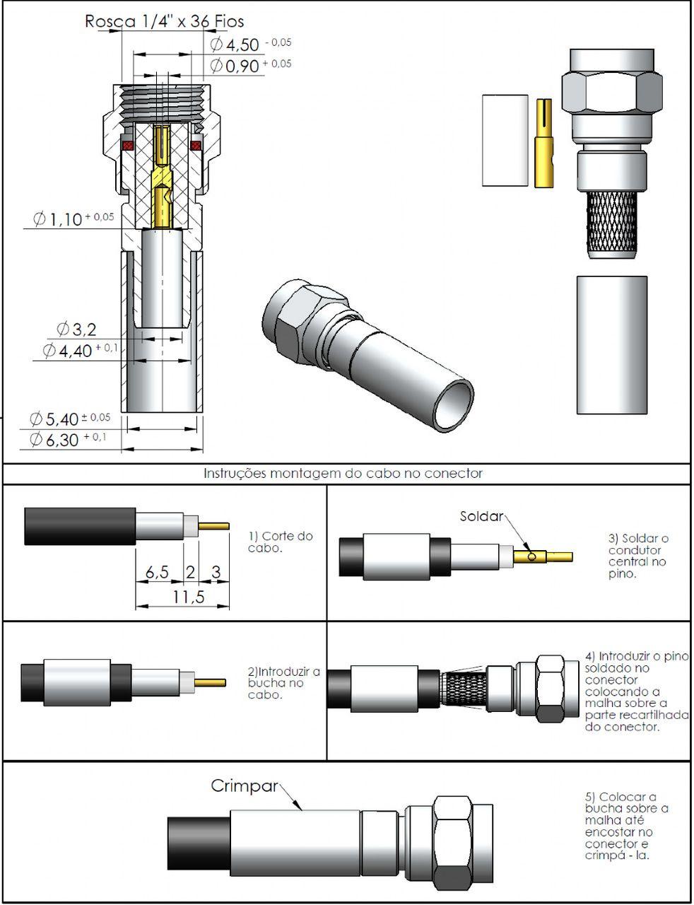 Conector SMA Macho Reverso Rg/Rgc-58 3057