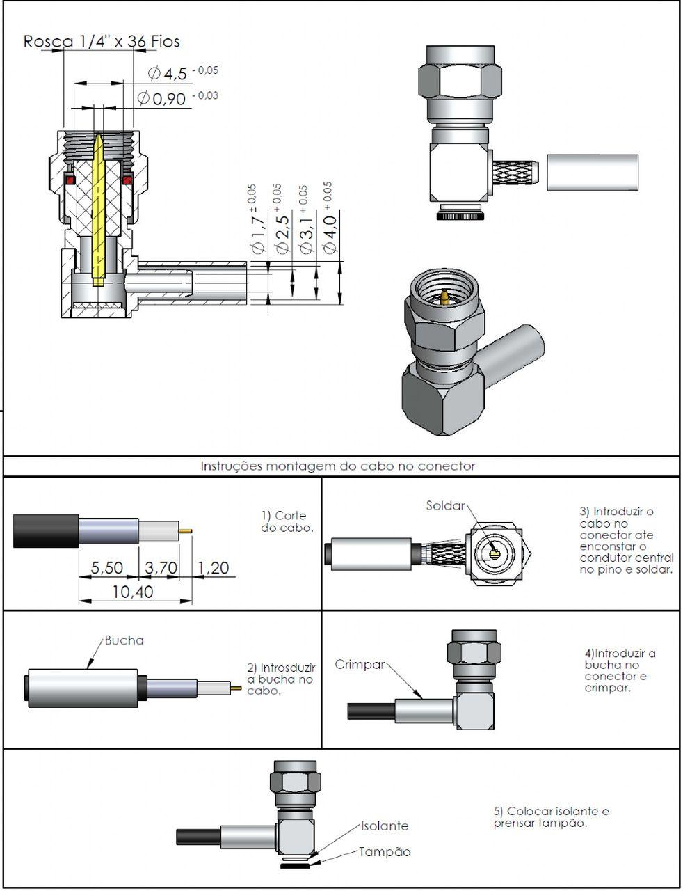 Conector SMA Macho Rg-174 3016