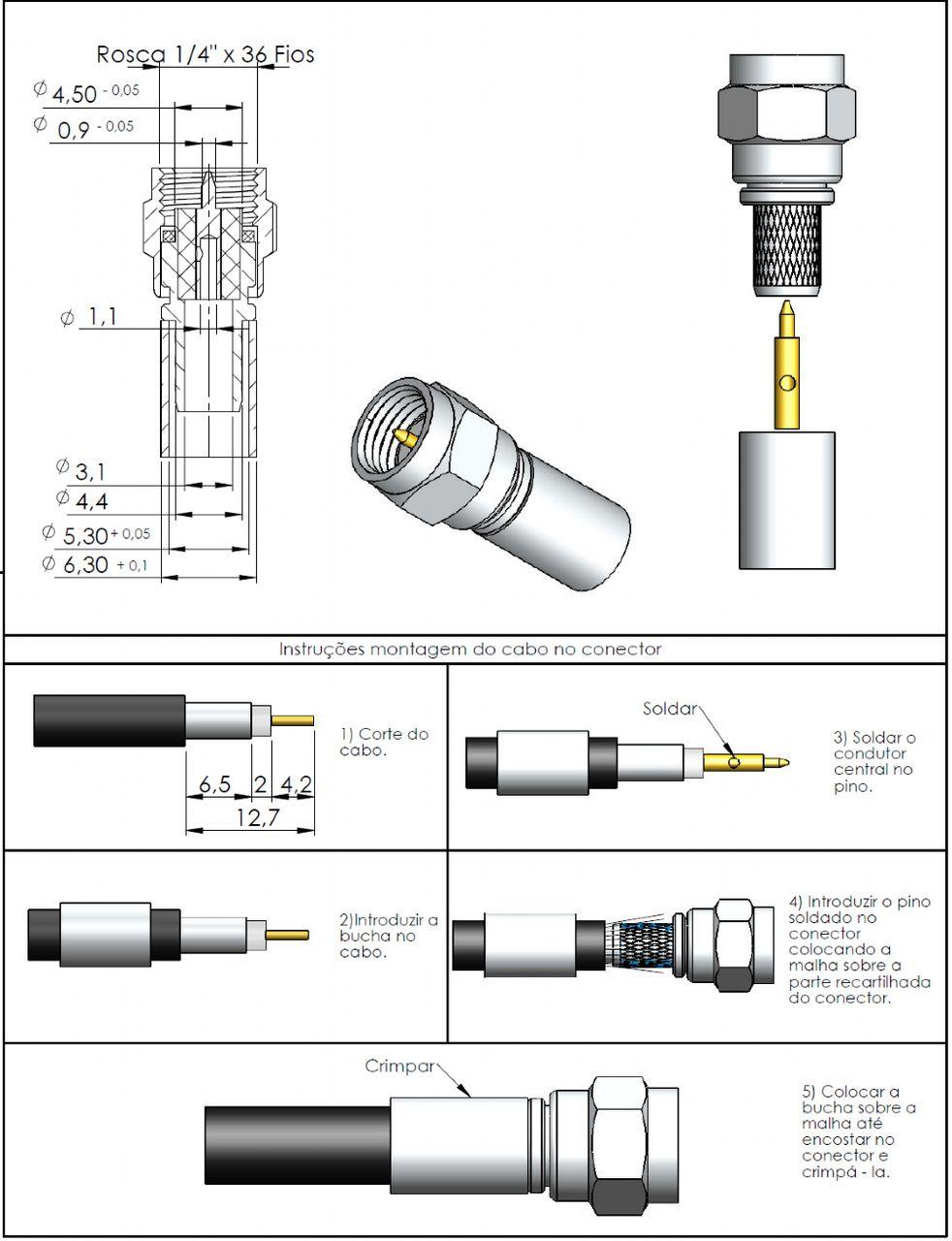 Conector SMA Macho Rg/Rgc-58 3024