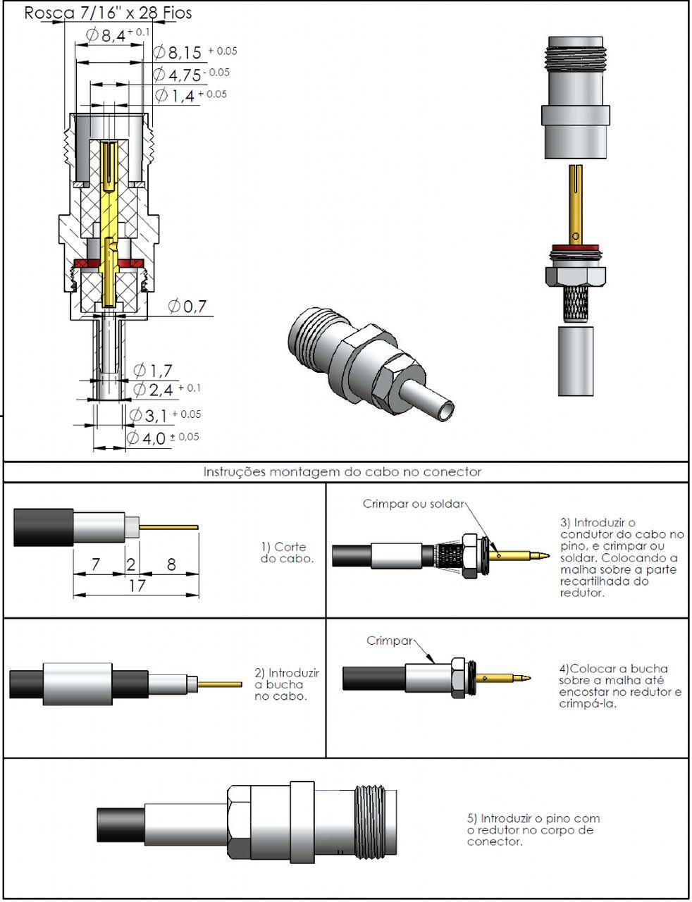 Conector TNC Fêmea Rg-174 TF-10CR