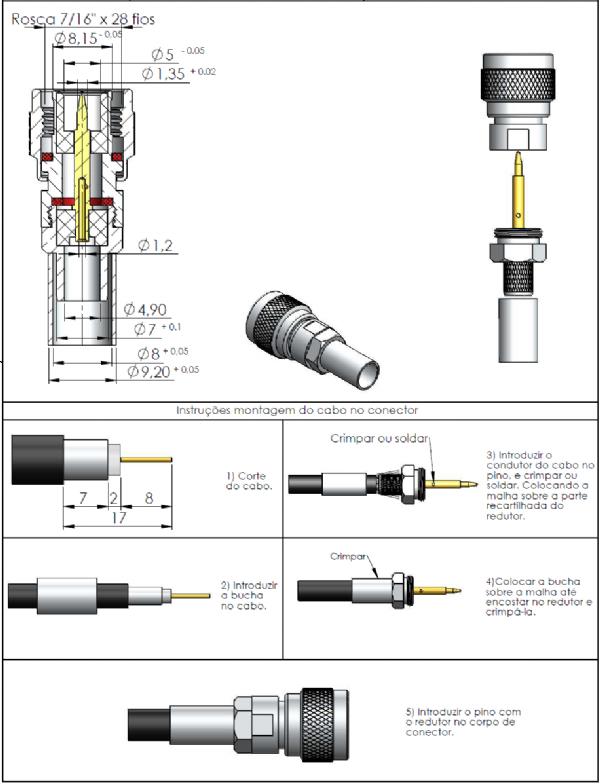 Conector TNC Macho Reto Crimpagem Rg/Rgc-6 Pino Fixo TM-20
