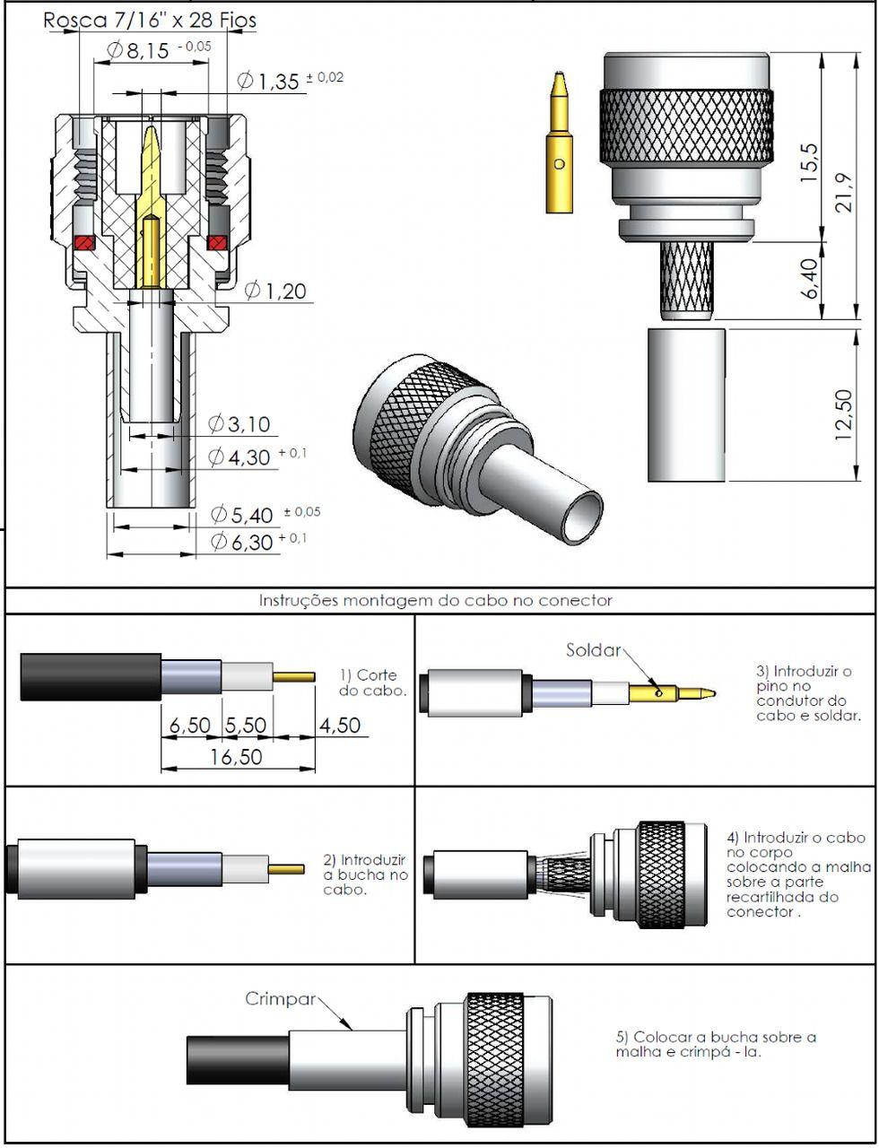 Conector TNC Macho Rg/Rgc-58 TM-4CR