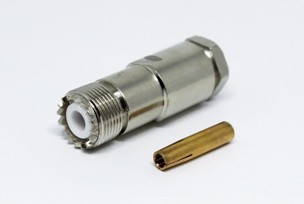 Conector uhf Femea para cabo coaxial RG213