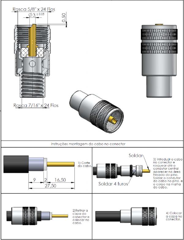 Conector UHF Macho Reto Cabo Solda Rg/Rgc-213 KM-1