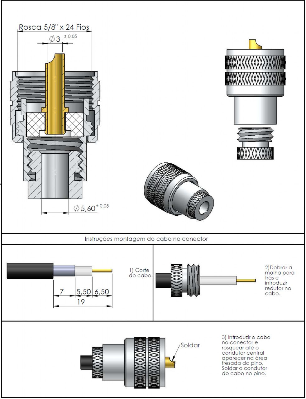 Conector UHF Macho Reto Prensa Cabo Rg/Rgc-58 KM-8