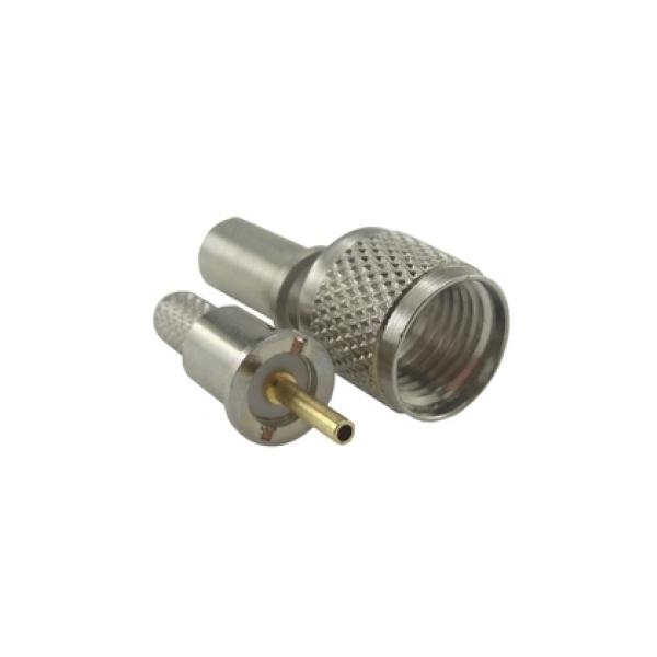 Conector UHF-Mini Macho Reto Crimpagem Rg/Rgc-58 Pino Fixo KM-8M (Mini Motorola)