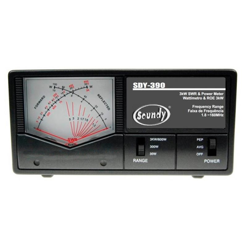 SOUNDY SDY-390 - Wattímetro/Medidor ROE HF/VHF (1,8 ~ 160 MHz) 3 kW, Ponteiros Cruzados
