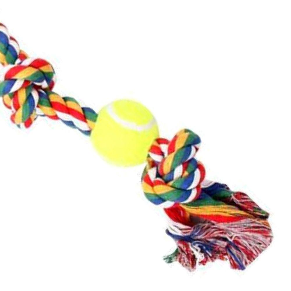 Brinquedo para Cachorro Corda 3 Nós e Bola de Tênis