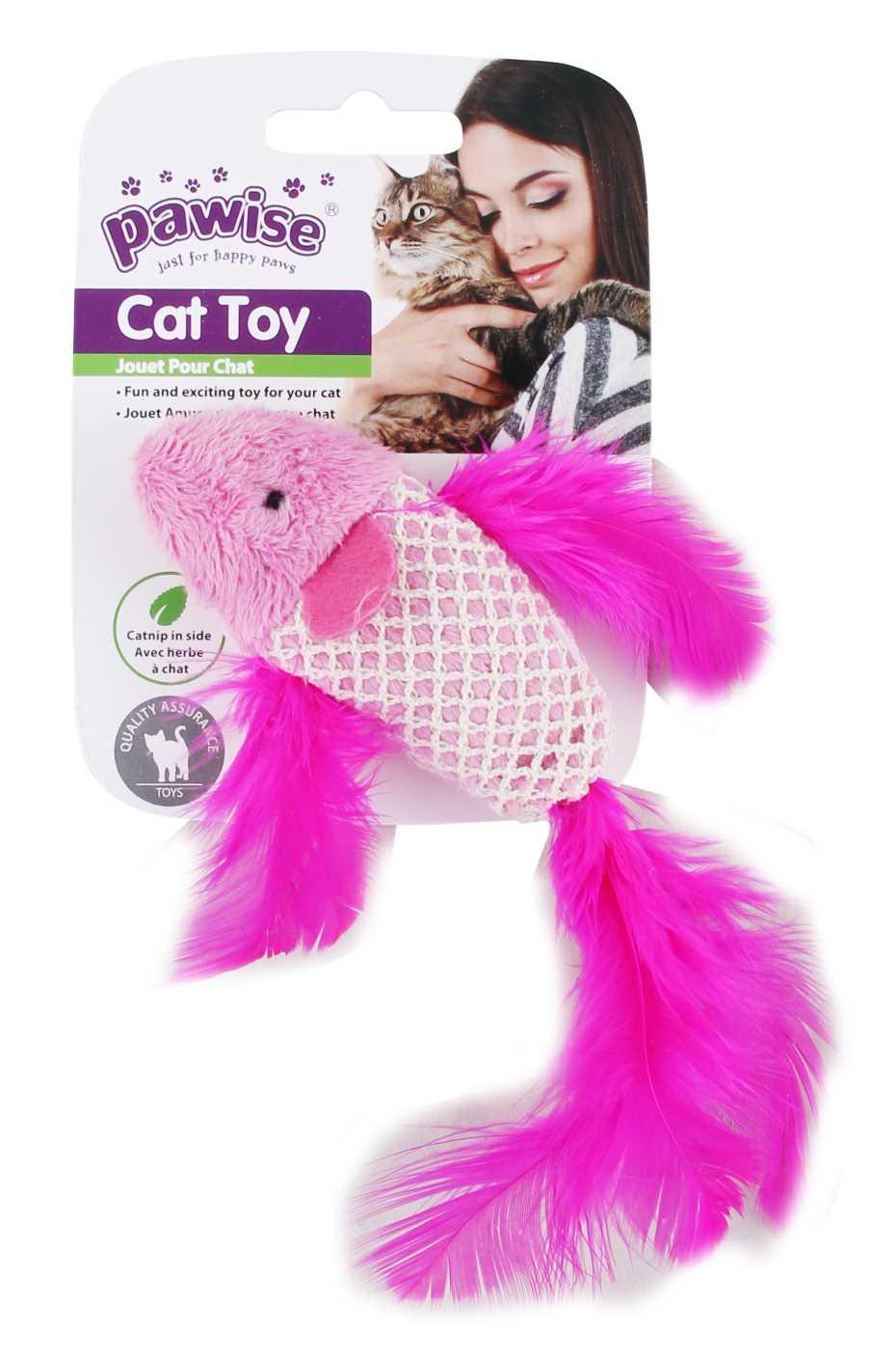 Kit para Gato 2 Brinquedos Varinha e Peixe Catnip Pawise