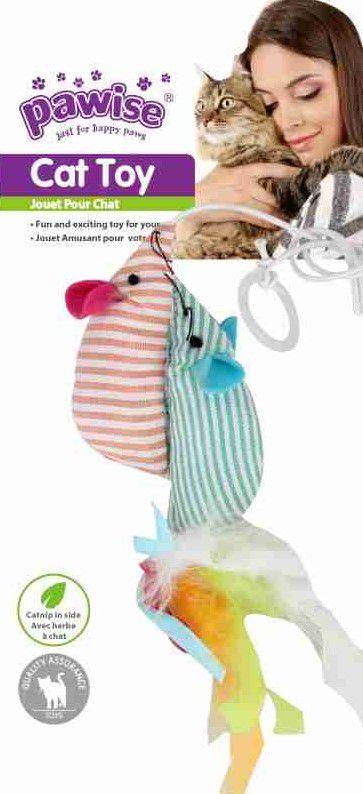 kit para gato 3 Brinquedos Peixe e Rato com CATNIP Pawise