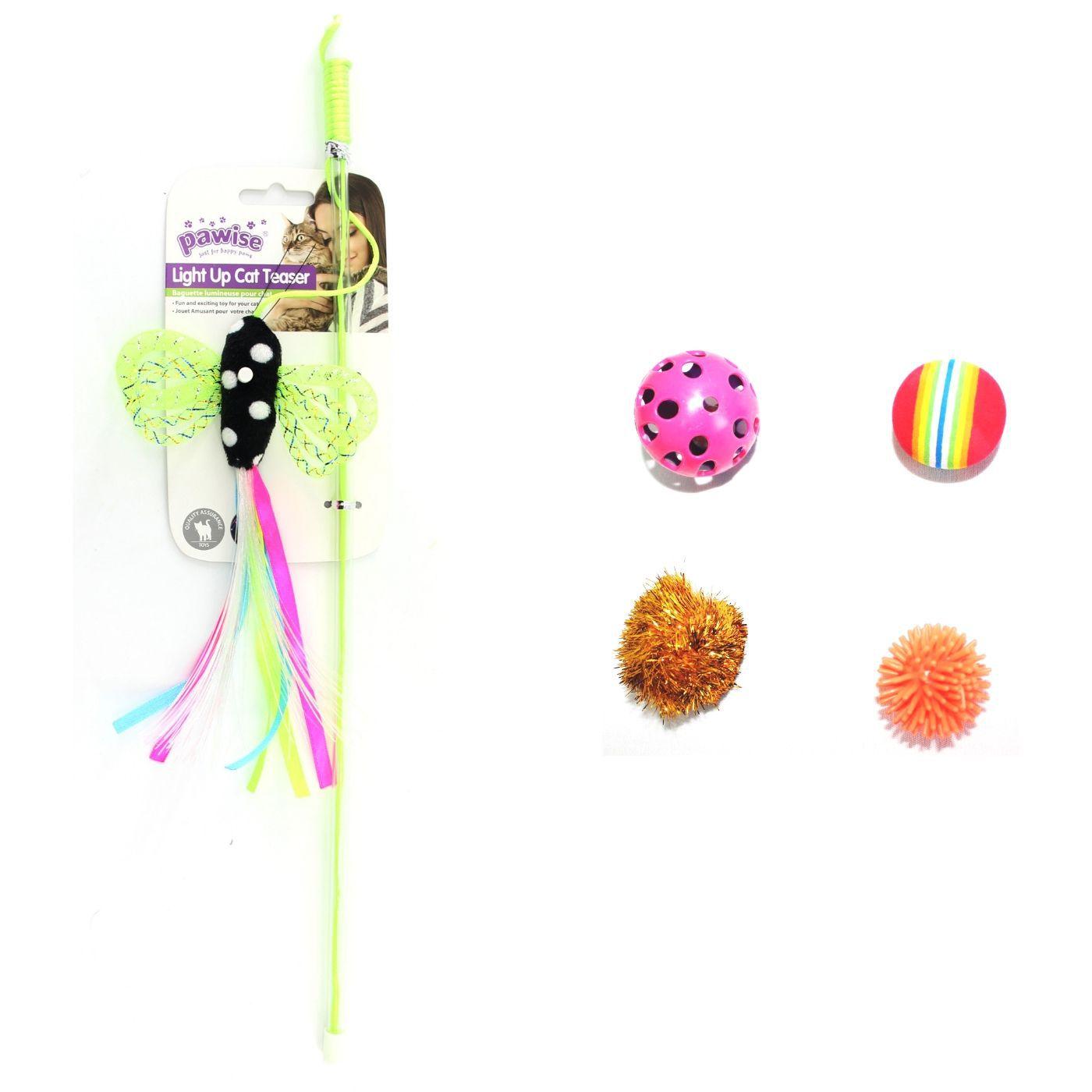 Kit 5 Brinquedos Varinha Borboleta c/ 4 Bolas p/ Gato Pawise