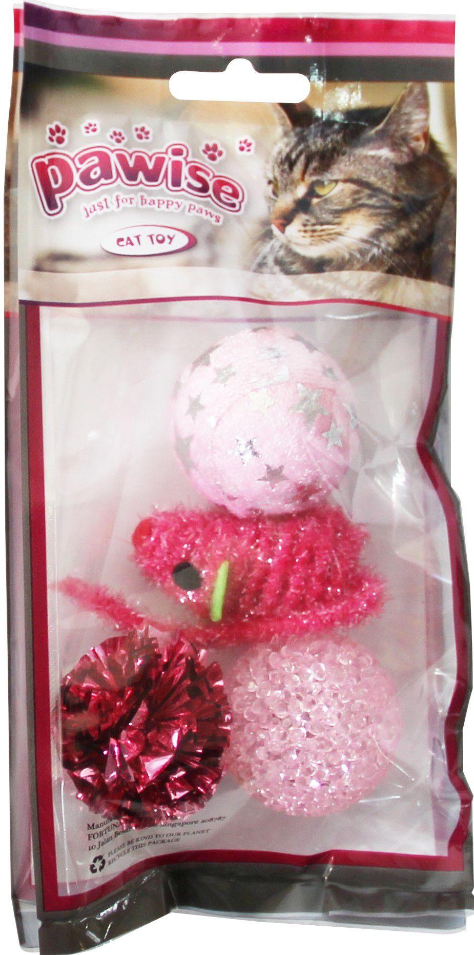 Kit 6 Brinquedos para Gato com Varinha Bola e Peixe Pawise